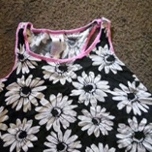 Black,White,and Pink Sunflower shirt, white shorts